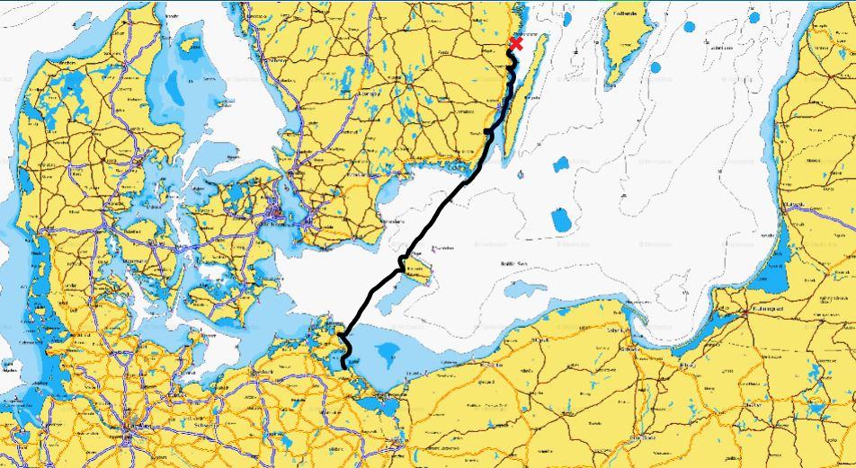 Karte Ostsee Süd Weg bis Kuggö ost mit rotem Kreuzle
